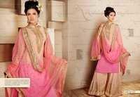 Peachy Embroidered Georgette Plazo Style Salwar Kameez