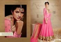 Pink Georgette With Silk Embroidered Anarkali Suit
