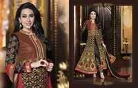 Karishma Kapoor Georgette Wedding Black Anarkali Suit