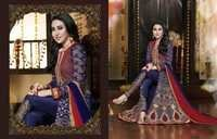 Karishma Kapoor Georgette Wedding Blue And Red Anarkali Suit