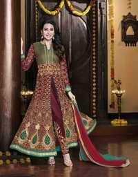 Karishma Kapoor Georgette Wedding Aqua Magenta Anarkali Suit