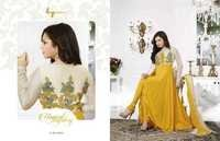 Madhubala Semistitched Yellow Georgette Salwar Kameez