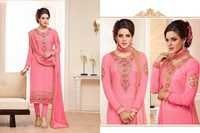 Alayna Semi Stitched  Pink Embroidered Georgette Suit