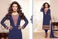 Alayna Semi Stitched  Navy Embroidered Georgette Suit