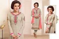 Alayna Semi Stitched  Gray Embroidered Georgette Suit