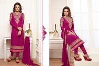Alayna Semi Stitched  Magenta Embroidered Georgette Suit