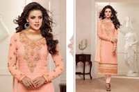 Alayna Semi Stitched  Peach Embroidered Georgette Suit
