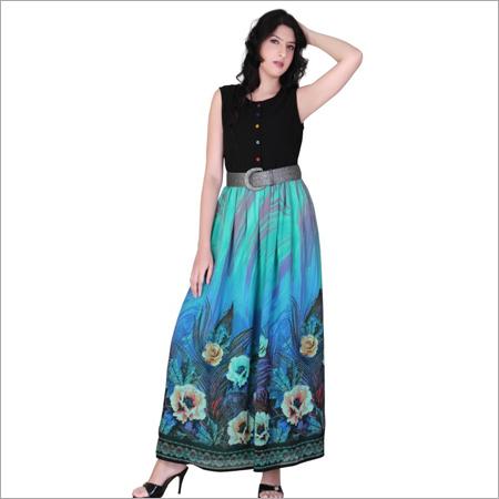 Black & Blue Flower Long Dress