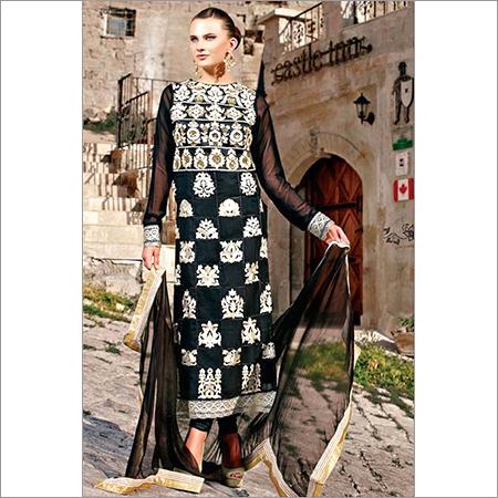 Black Georgette Long Length Designer Suit