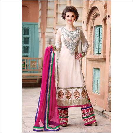 Cream Net Party Wear Anarkali Suits