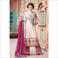 Cream Net Party Wear Anarkali Suits