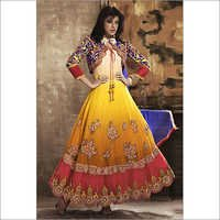 Yellow Georgette Long Anarkali Suit