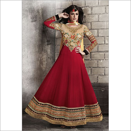Maroon Georgette Long Anarkali Suit