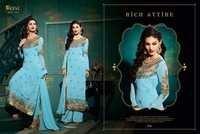 Aqua Semi Stitched Georgette Salwar Kameez