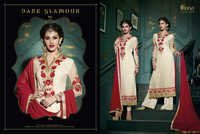 Royal Semistitch Cream Georgette Salwar Kameez