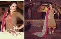 Excellent Beige Cotton Unstitch Salwar Kameez