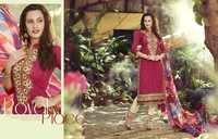 Excellent Creamy Pink Cotton Unstitch Salwar Kameez