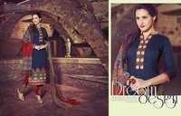 Excellent Navy Red Cotton Unstitch Salwar Kameez