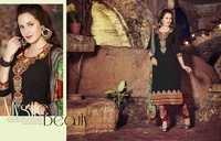 Excellent Black Cotton Unstitch Salwar Kameez