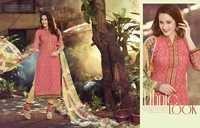 Excellent  Peach Beige Cotton Unstitch Salwar Kameez