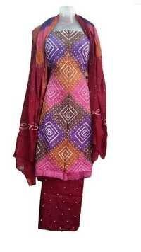 Colourful Satin Bandhani Dress Material