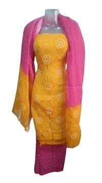 Satin Bandhani cotton Suit