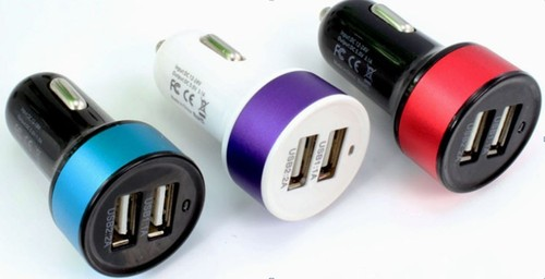5V 3.1A Circular Dual USB car charger for smart phone