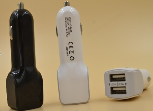 5V 3.1A black white Dual USB car charger for smart phone