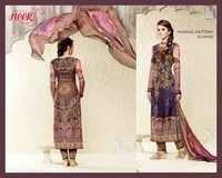 Mugal Pattern In Wine Cotton Silk Unstitch Salwar Kameez
