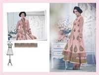 Pink Hand Embroidered Semi Stitch Anarkali Suit