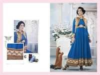 Browny Blue Chiffon Satin Embroidered Anarkali Suit