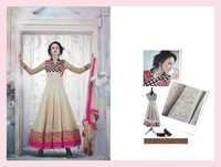 Creamy Georgette Embroidered Anarkali Suit