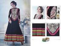 Black Chiffon Multi Color Embroidered Anarkali Suit