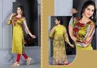 Golden Designer Embroidered Readymade Kurti