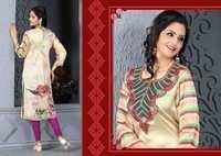 Cream Designer Embroidered Readymade Kurti
