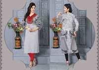 Grey Designer Red  Embroidered Readymade Kurti