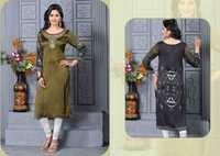 Olive Green Designer Embroidered Readymade Kurti