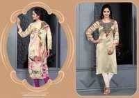Shining Cream Designer Embroidered Readymade Kurti
