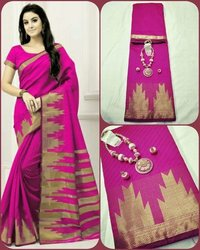 Magenta Exclusive Leechi Jacquard Weaving  Saree