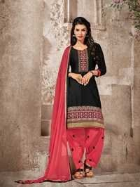 Black Cotton Patiala Suit