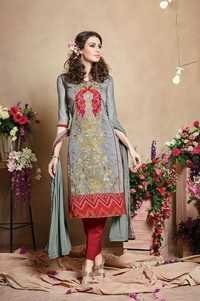 Grey Stylish Pure Chanderi Suit