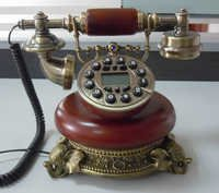 Antique Indian style wood & Brass telephone