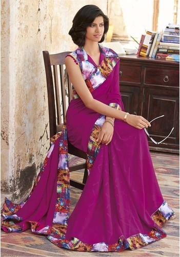 Georgette printed fancy saree