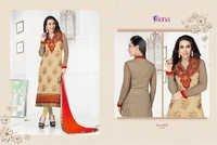 Karishma Kapoor Cream&Orange Embroidered Georgette Suit