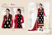 Karishma Kapoor Black & Red Embroidered Georgette Suit