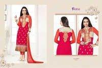 Karishma Kapoor Red & Orange Embroidered Georgette Suit