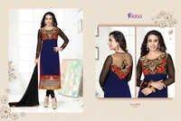 Karishma Kapoor Blue & Black Embroidered Georgette Suit