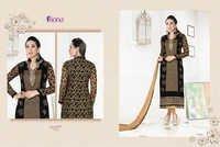 Karishma Kapoor Black & Cream Embroidered Georgette Suit