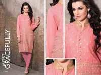 Georgette Embroidered  Peach Kurti