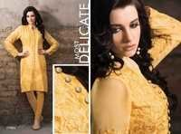 Georgette Embroidered  Yellow Kurti